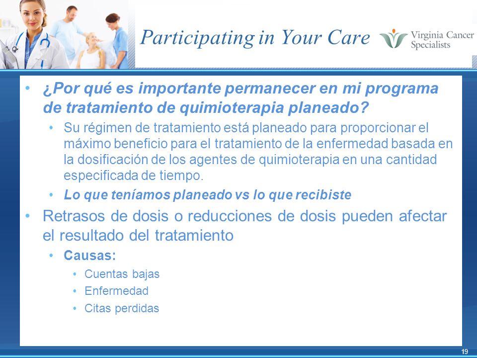 19 Participating in Your Care ¿Por qué es importante permanecer en mi programa de tratamiento de quimioterapia planeado? Su régimen de tratamiento est