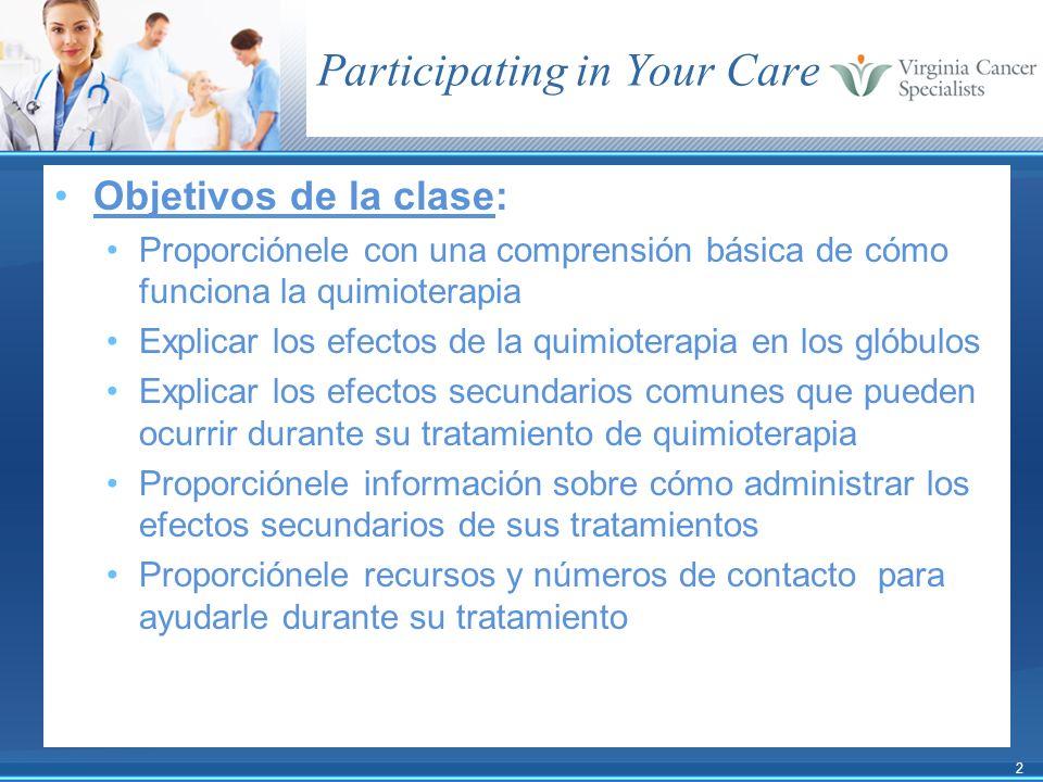 2 Objetivos de la clase: Proporciónele con una comprensión básica de cómo funciona la quimioterapia Explicar los efectos de la quimioterapia en los gl