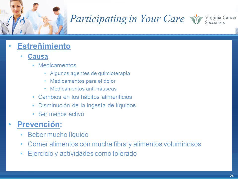 24 Participating in Your Care Estreñimiento Causa: Medicamentos Algunos agentes de quimioterapia Medicamentos para el dolor Medicamentos anti-náuseas
