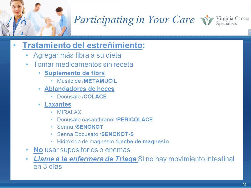 25 Participating in Your Care Tratamiento del estreñimiento: Agregar más fibra a su dieta Tomar medicamentos sin receta Suplemento de fibra Musiloide