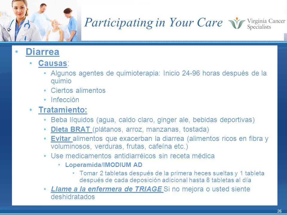 26 Participating in Your Care Diarrea Causas: Algunos agentes de quimioterapia: Inicio 24-96 horas después de la quimio Ciertos alimentos Infección Tr