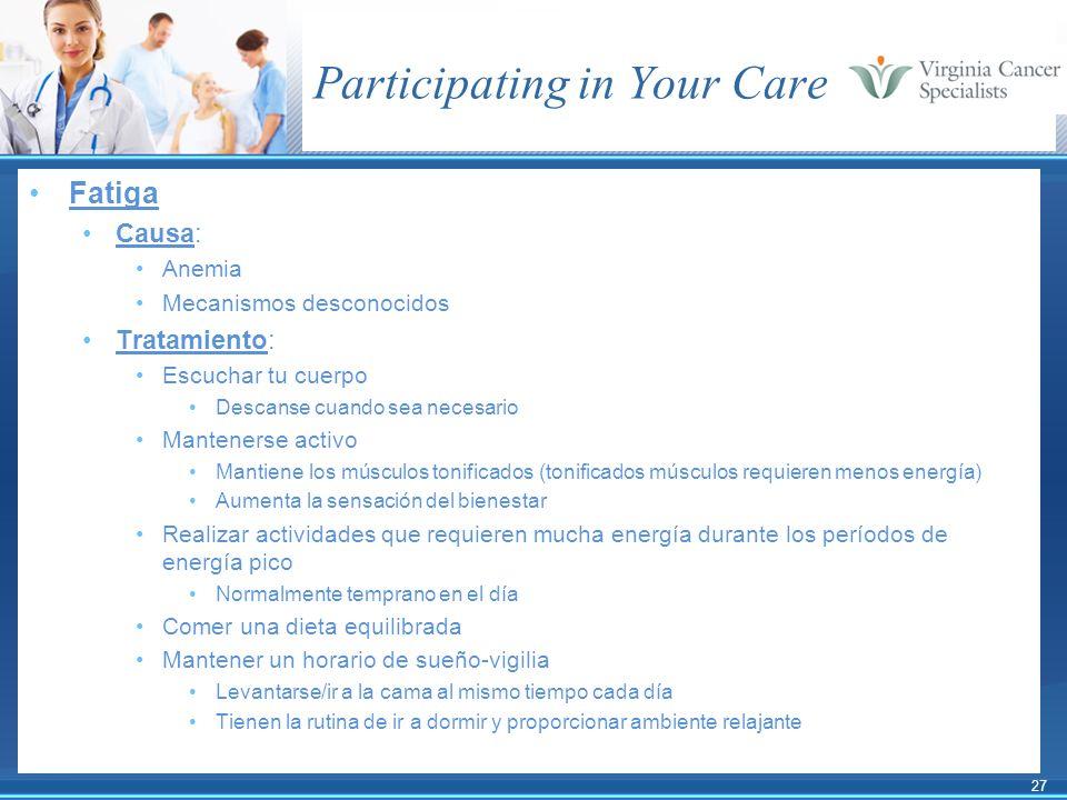 27 Participating in Your Care Fatiga Causa: Anemia Mecanismos desconocidos Tratamiento: Escuchar tu cuerpo Descanse cuando sea necesario Mantenerse ac