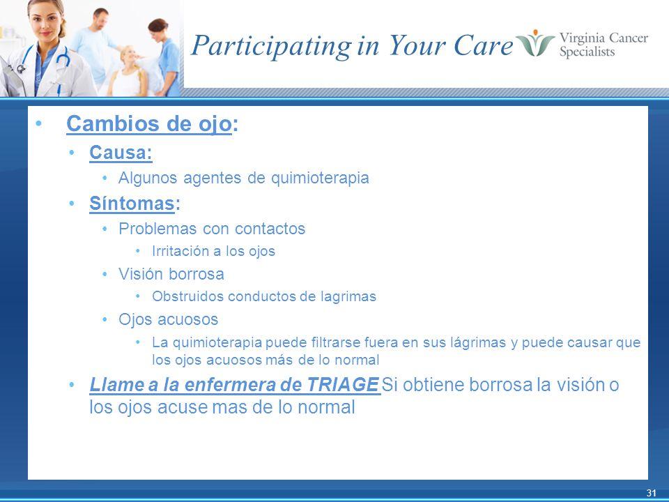 31 Participating in Your Care Cambios de ojo: Causa: Algunos agentes de quimioterapia Síntomas: Problemas con contactos Irritación a los ojos Visión b