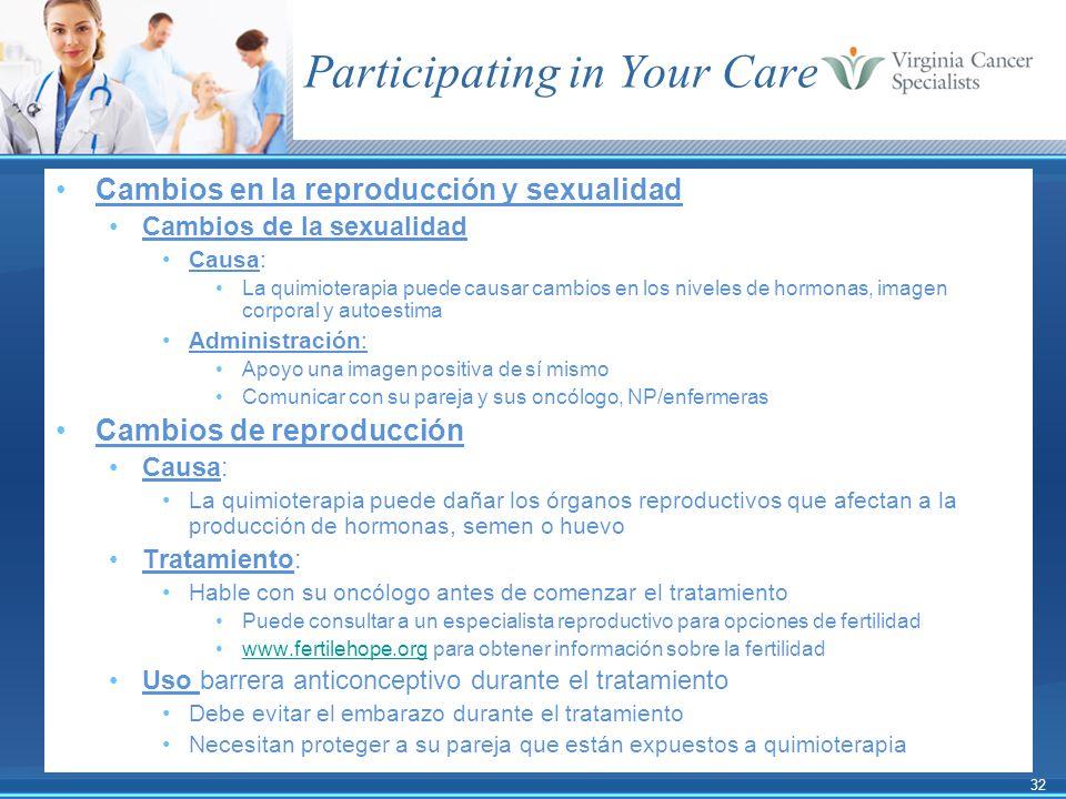 32 Participating in Your Care Cambios en la reproducción y sexualidad Cambios de la sexualidad Causa: La quimioterapia puede causar cambios en los niv