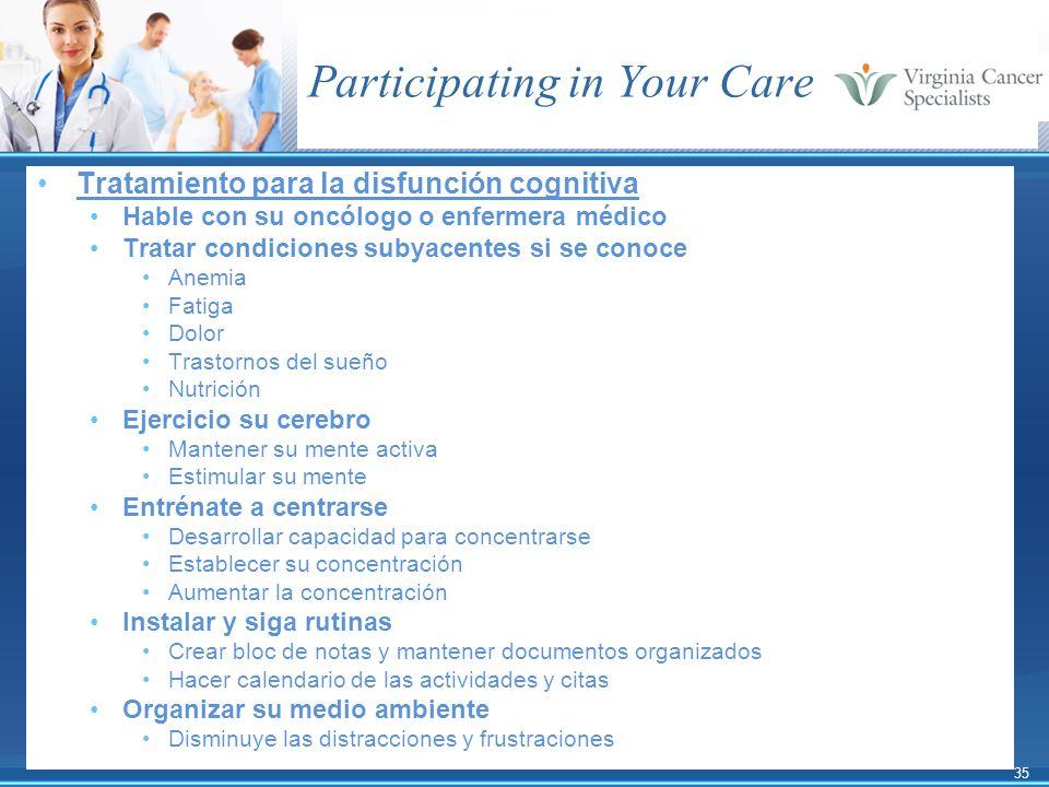35 Participating in Your Care Tratamiento para la disfunción cognitiva Hable con su oncólogo o enfermera médico Tratar condiciones subyacentes si se c