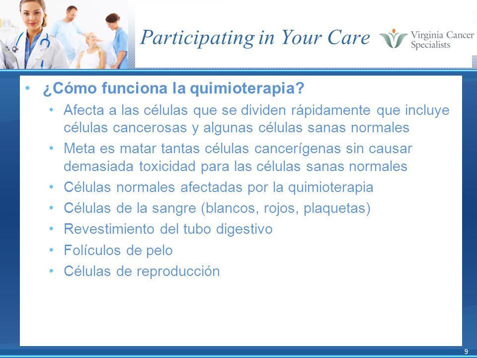 9 Participating in Your Care ¿Cómo funciona la quimioterapia? Afecta a las células que se dividen rápidamente que incluye células cancerosas y algunas
