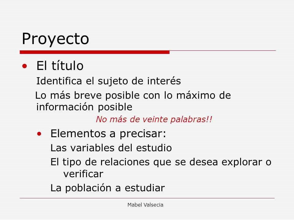 Mabel Valsecia Proyecto El título Identifica el sujeto de interés Lo más breve posible con lo máximo de información posible No más de veinte palabras!