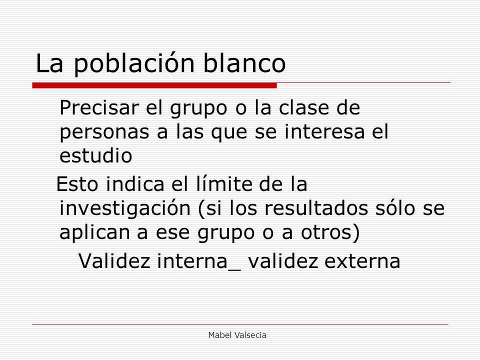 Mabel Valsecia La población blanco Precisar el grupo o la clase de personas a las que se interesa el estudio Esto indica el límite de la investigación