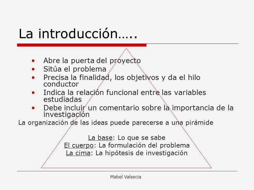 Mabel Valsecia La introducción….. Abre la puerta del proyecto Sitúa el problema Precisa la finalidad, los objetivos y da el hilo conductor Indica la r