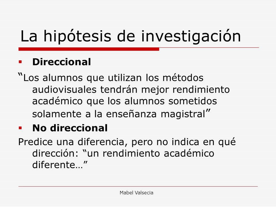 Mabel Valsecia La hipótesis de investigación Direccional Los alumnos que utilizan los métodos audiovisuales tendrán mejor rendimiento académico que lo