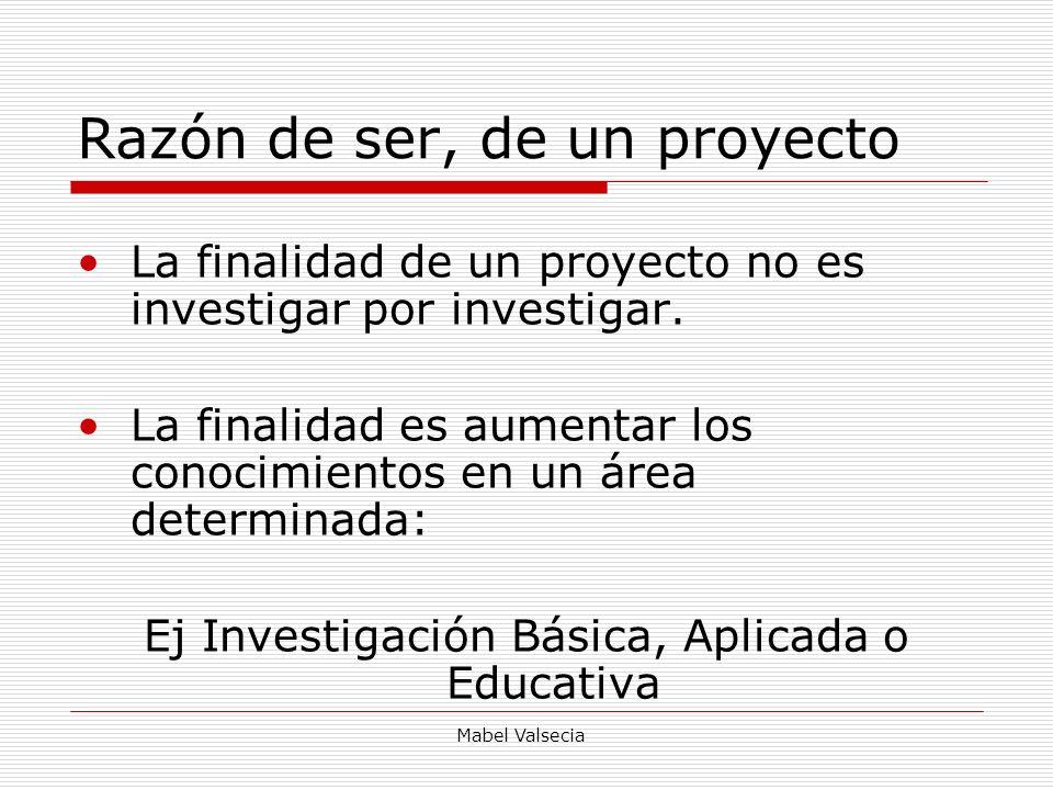 Mabel Valsecia Razón de ser, de un proyecto La finalidad de un proyecto no es investigar por investigar. La finalidad es aumentar los conocimientos en