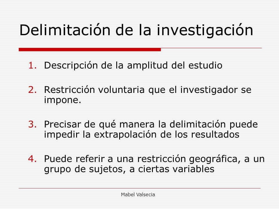 Mabel Valsecia Delimitación de la investigación 1.Descripción de la amplitud del estudio 2.Restricción voluntaria que el investigador se impone. 3.Pre