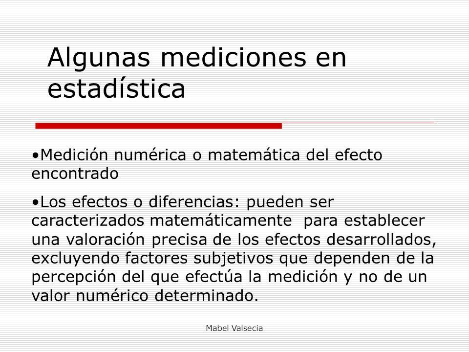 Mabel Valsecia Algunas mediciones en estadística Medición numérica o matemática del efecto encontrado Los efectos o diferencias: pueden ser caracteriz