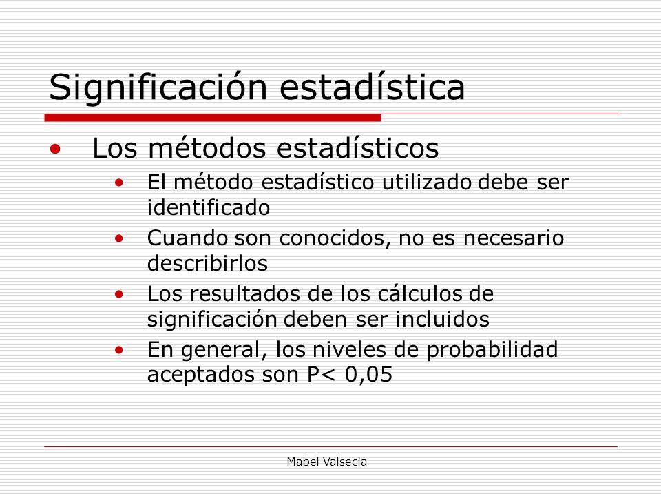 Mabel Valsecia Significación estadística Los métodos estadísticos El método estadístico utilizado debe ser identificado Cuando son conocidos, no es ne
