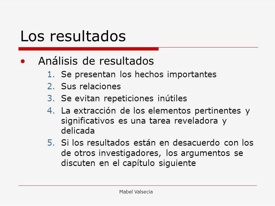 Mabel Valsecia Los resultados Análisis de resultados 1.Se presentan los hechos importantes 2.Sus relaciones 3.Se evitan repeticiones inútiles 4.La ext