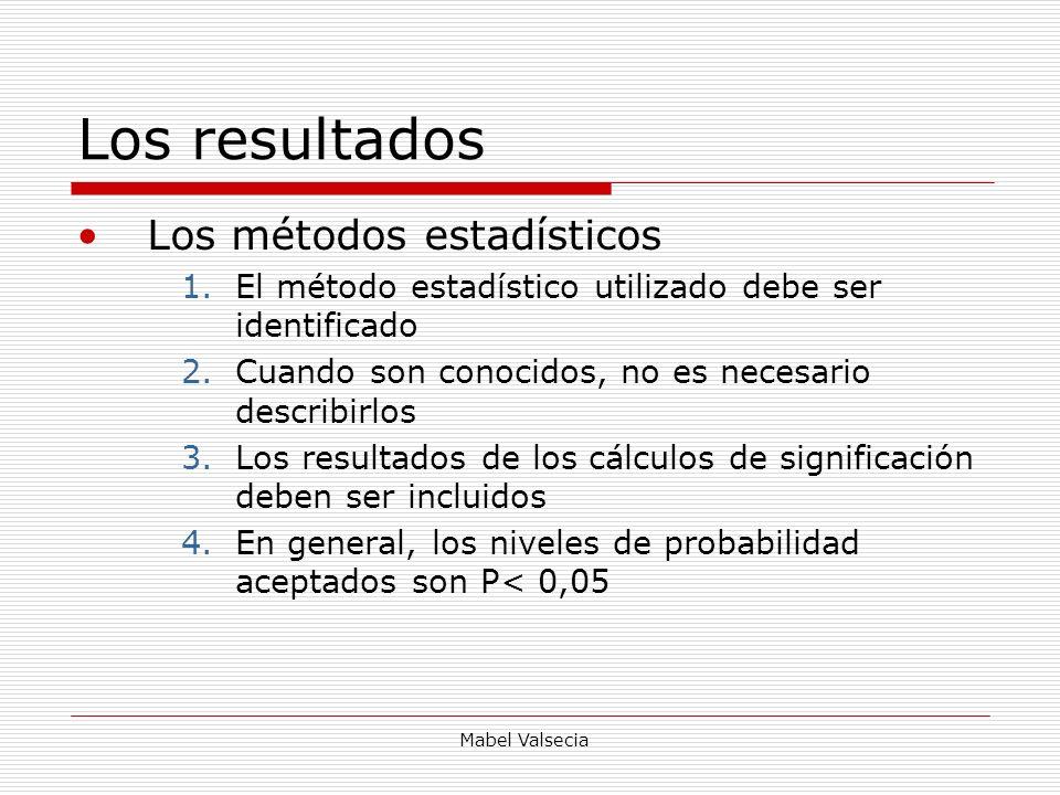 Mabel Valsecia Los resultados Los métodos estadísticos 1.El método estadístico utilizado debe ser identificado 2.Cuando son conocidos, no es necesario