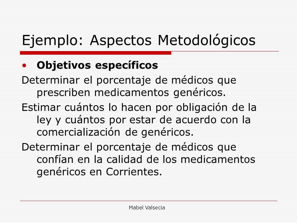 Mabel Valsecia Ejemplo: Aspectos Metodológicos Objetivos específicos Determinar el porcentaje de médicos que prescriben medicamentos genéricos. Estima