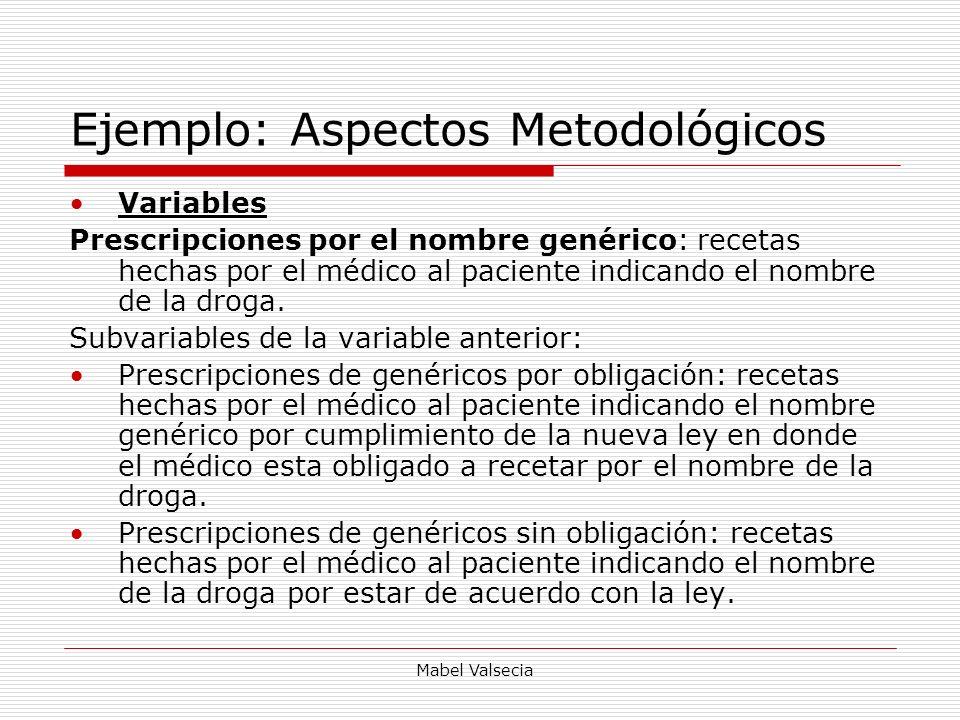 Mabel Valsecia Ejemplo: Aspectos Metodológicos Variables Prescripciones por el nombre genérico: recetas hechas por el médico al paciente indicando el