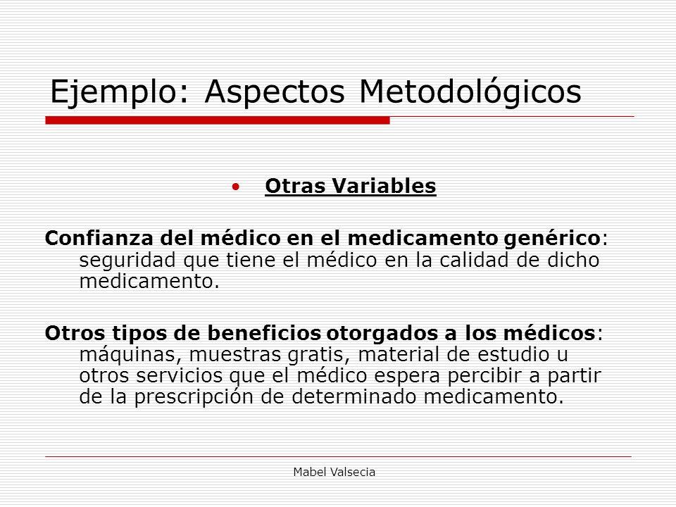 Mabel Valsecia Ejemplo: Aspectos Metodológicos Otras Variables Confianza del médico en el medicamento genérico: seguridad que tiene el médico en la ca