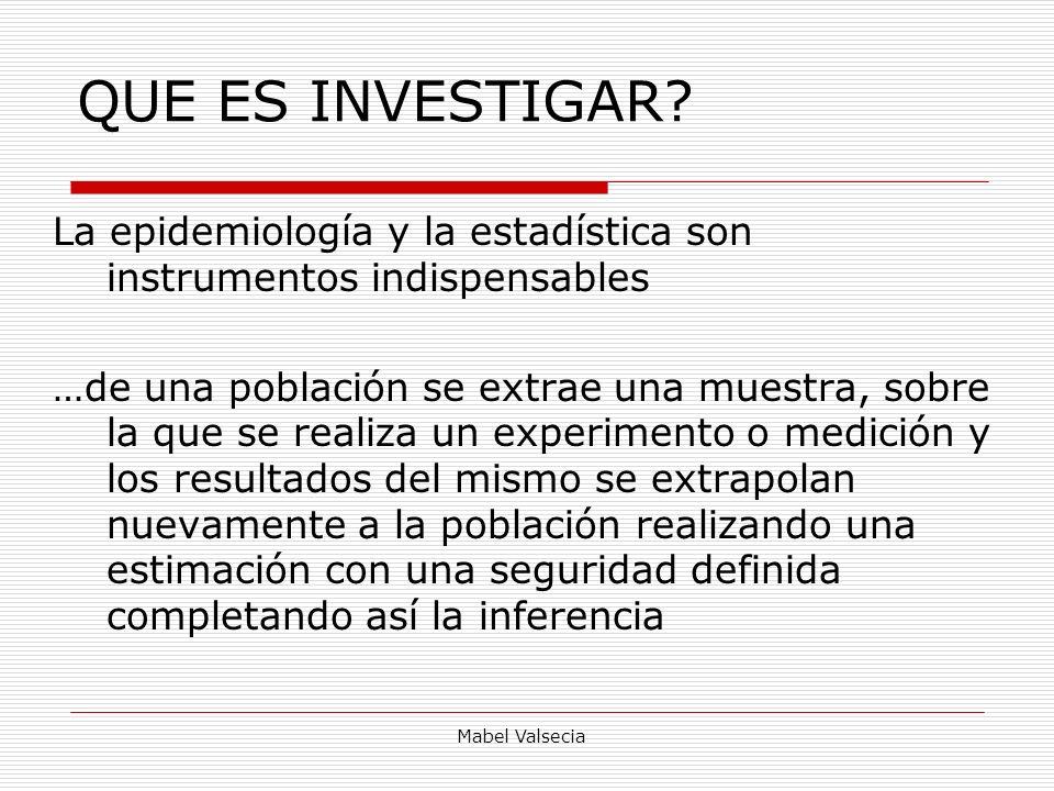 Mabel Valsecia Significación estadística Probabilidad que una diferencia observada sea resultado de la casualidad y no de los determinantes causales de un estudio.