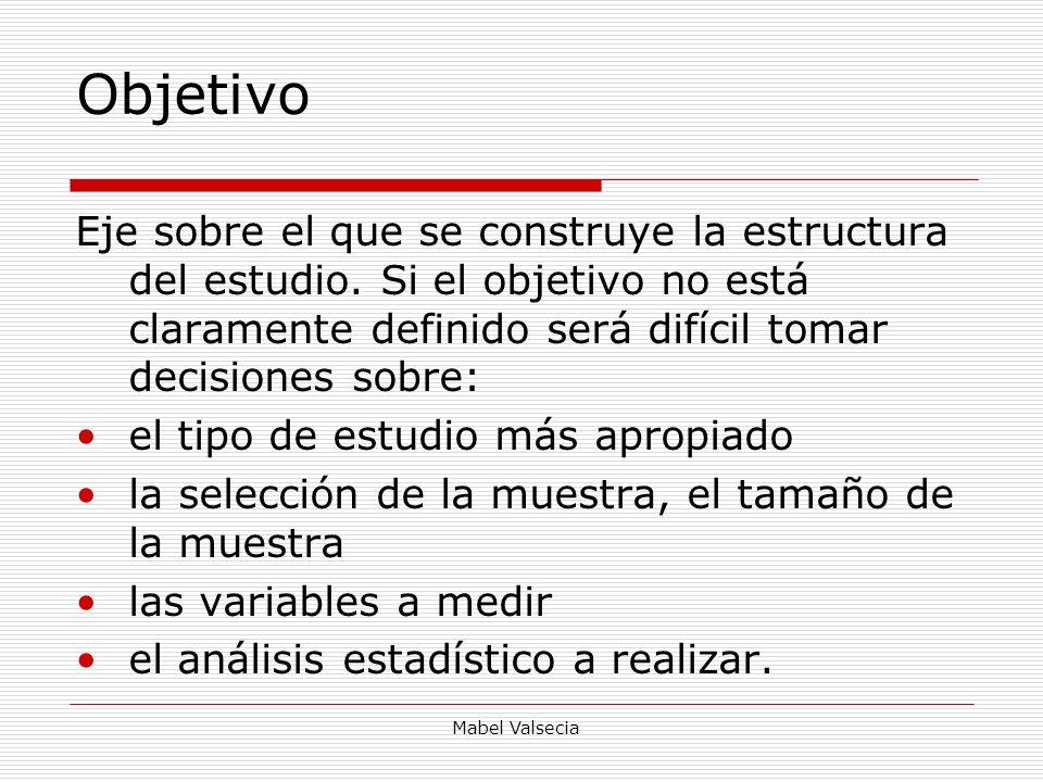 Mabel Valsecia Objetivo Eje sobre el que se construye la estructura del estudio. Si el objetivo no está claramente definido será difícil tomar decisio