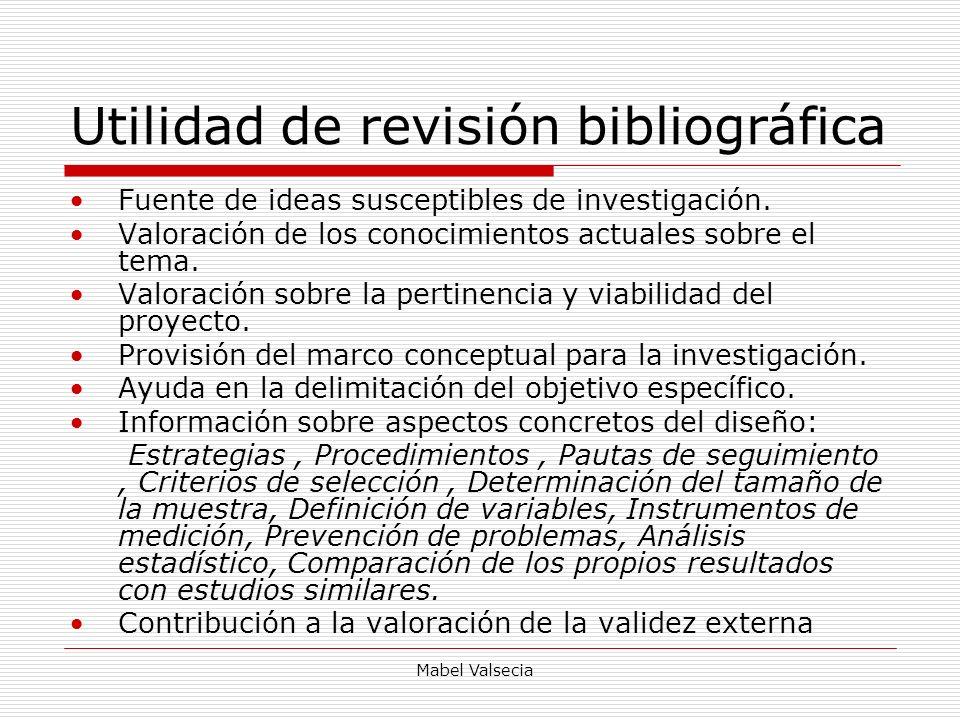 Mabel Valsecia Utilidad de revisión bibliográfica Fuente de ideas susceptibles de investigación. Valoración de los conocimientos actuales sobre el tem