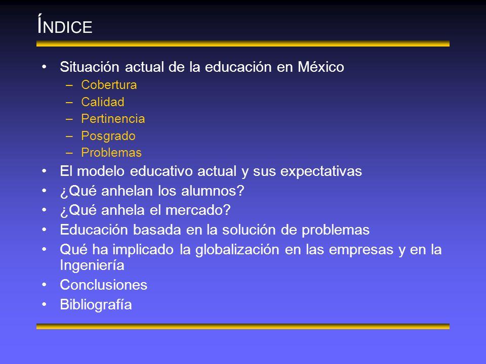 Í NDICE Situación actual de la educación en México –Cobertura –Calidad –Pertinencia –Posgrado –Problemas El modelo educativo actual y sus expectativas ¿Qué anhelan los alumnos.
