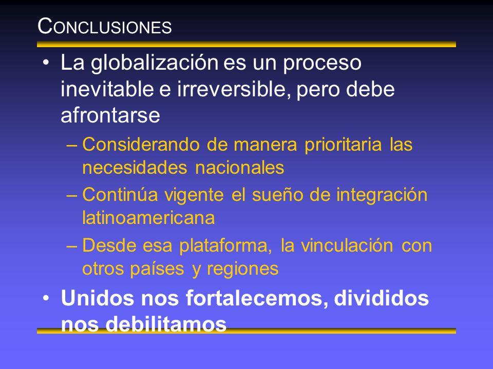C ONCLUSIONES La globalización es un proceso inevitable e irreversible, pero debe afrontarse –Considerando de manera prioritaria las necesidades nacionales –Continúa vigente el sueño de integración latinoamericana –Desde esa plataforma, la vinculación con otros países y regiones Unidos nos fortalecemos, divididos nos debilitamos