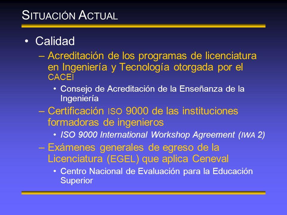 S ITUACIÓN A CTUAL Calidad –Acreditación de los programas de licenciatura en Ingeniería y Tecnología otorgada por el CACEI Consejo de Acreditación de la Enseñanza de la Ingeniería –Certificación ISO 9000 de las instituciones formadoras de ingenieros ISO 9000 International Workshop Agreement ( IWA 2) –Exámenes generales de egreso de la Licenciatura ( EGEL ) que aplica Ceneval Centro Nacional de Evaluación para la Educación Superior