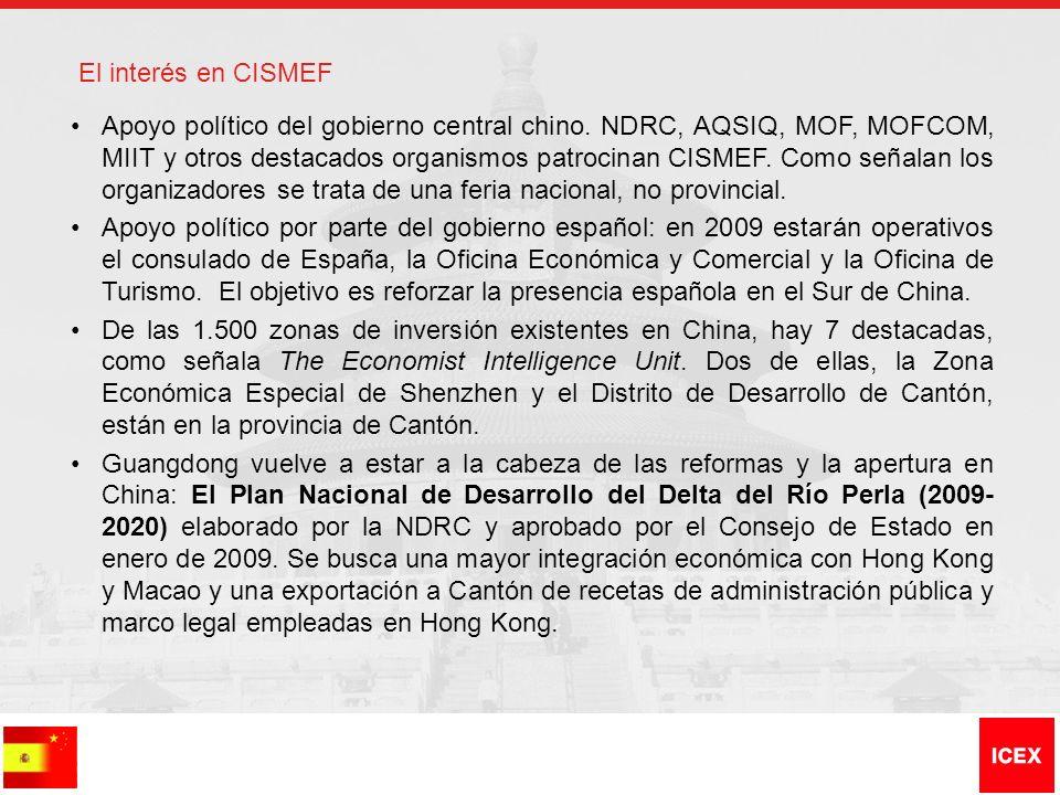 El interés en CISMEF Apoyo político del gobierno central chino. NDRC, AQSIQ, MOF, MOFCOM, MIIT y otros destacados organismos patrocinan CISMEF. Como s