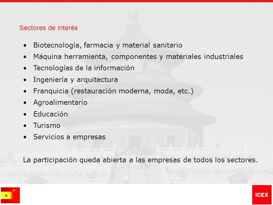 Sectores de interés Biotecnología, farmacia y material sanitario Máquina herramienta, componentes y materiales industriales Tecnologías de la informac