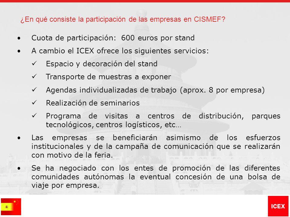 Cuota de participación: 600 euros por stand A cambio el ICEX ofrece los siguientes servicios: Espacio y decoración del stand Transporte de muestras a exponer Agendas individualizadas de trabajo (aprox.