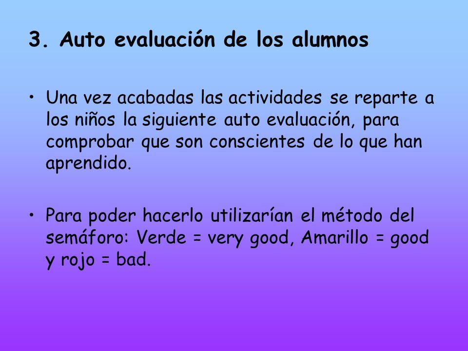 3. Auto evaluación de los alumnos Una vez acabadas las actividades se reparte a los niños la siguiente auto evaluación, para comprobar que son conscie