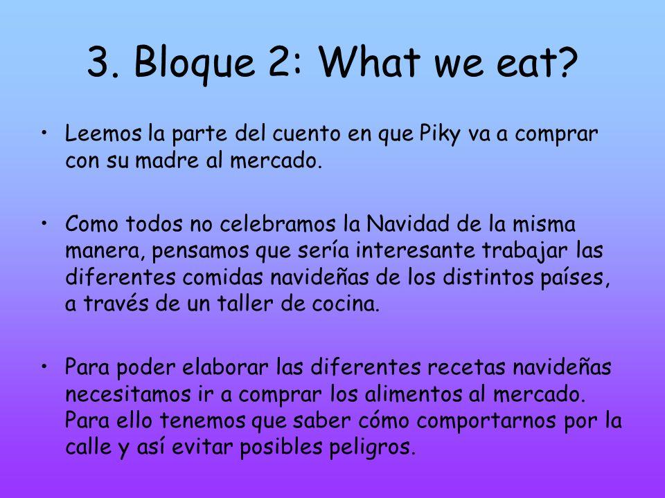 3. Bloque 2: What we eat? Leemos la parte del cuento en que Piky va a comprar con su madre al mercado. Como todos no celebramos la Navidad de la misma