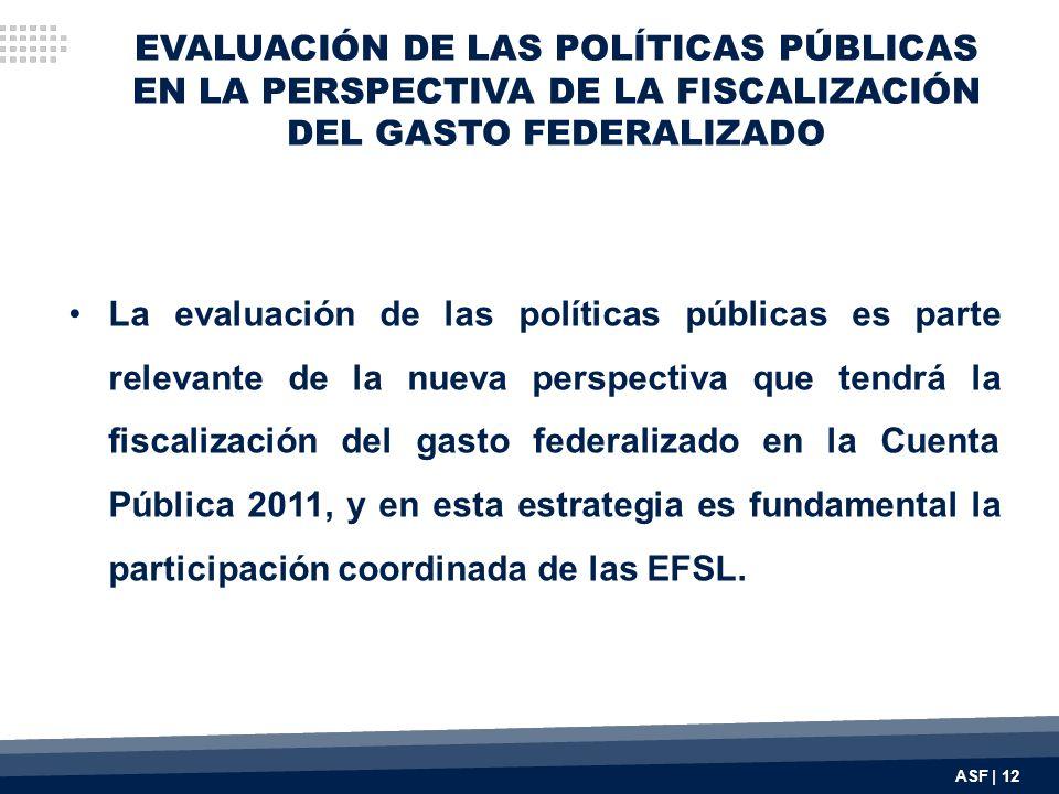 EVALUACIÓN DE LAS POLÍTICAS PÚBLICAS EN LA PERSPECTIVA DE LA FISCALIZACIÓN DEL GASTO FEDERALIZADO La evaluación de las políticas públicas es parte rel