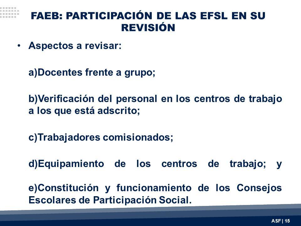 FAEB: PARTICIPACIÓN DE LAS EFSL EN SU REVISIÓN Aspectos a revisar: a)Docentes frente a grupo; b)Verificación del personal en los centros de trabajo a los que está adscrito; c)Trabajadores comisionados; d)Equipamiento de los centros de trabajo; y e)Constitución y funcionamiento de los Consejos Escolares de Participación Social.