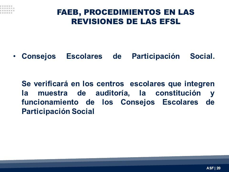 FAEB, PROCEDIMIENTOS EN LAS REVISIONES DE LAS EFSL Consejos Escolares de Participación Social. Se verificará en los centros escolares que integren la