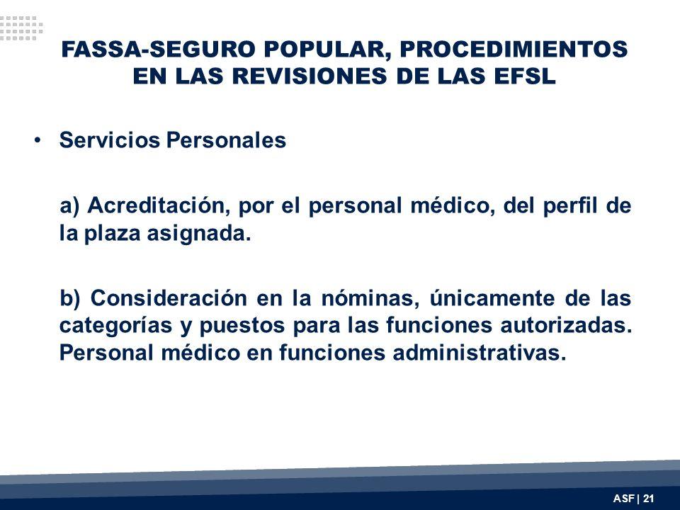 FASSA-SEGURO POPULAR, PROCEDIMIENTOS EN LAS REVISIONES DE LAS EFSL Servicios Personales a) Acreditación, por el personal médico, del perfil de la plaz