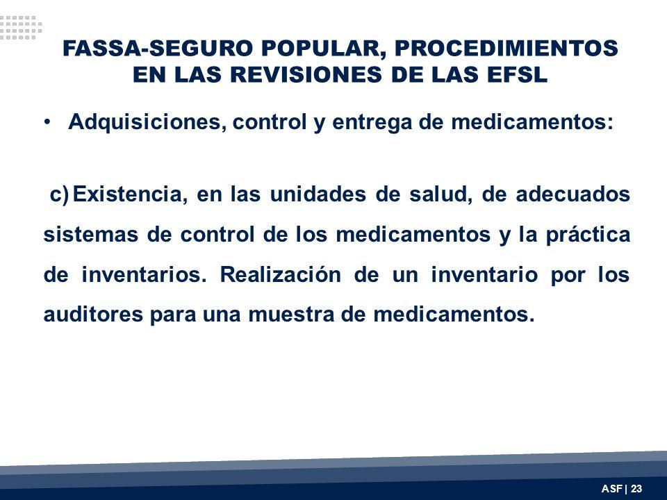 FASSA-SEGURO POPULAR, PROCEDIMIENTOS EN LAS REVISIONES DE LAS EFSL Adquisiciones, control y entrega de medicamentos: c) Existencia, en las unidades de salud, de adecuados sistemas de control de los medicamentos y la práctica de inventarios.