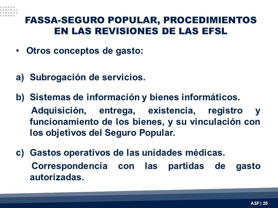 FASSA-SEGURO POPULAR, PROCEDIMIENTOS EN LAS REVISIONES DE LAS EFSL Otros conceptos de gasto: a)Subrogación de servicios. b)Sistemas de información y b