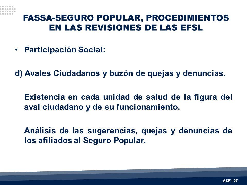 FASSA-SEGURO POPULAR, PROCEDIMIENTOS EN LAS REVISIONES DE LAS EFSL Participación Social: d) Avales Ciudadanos y buzón de quejas y denuncias. Existenci