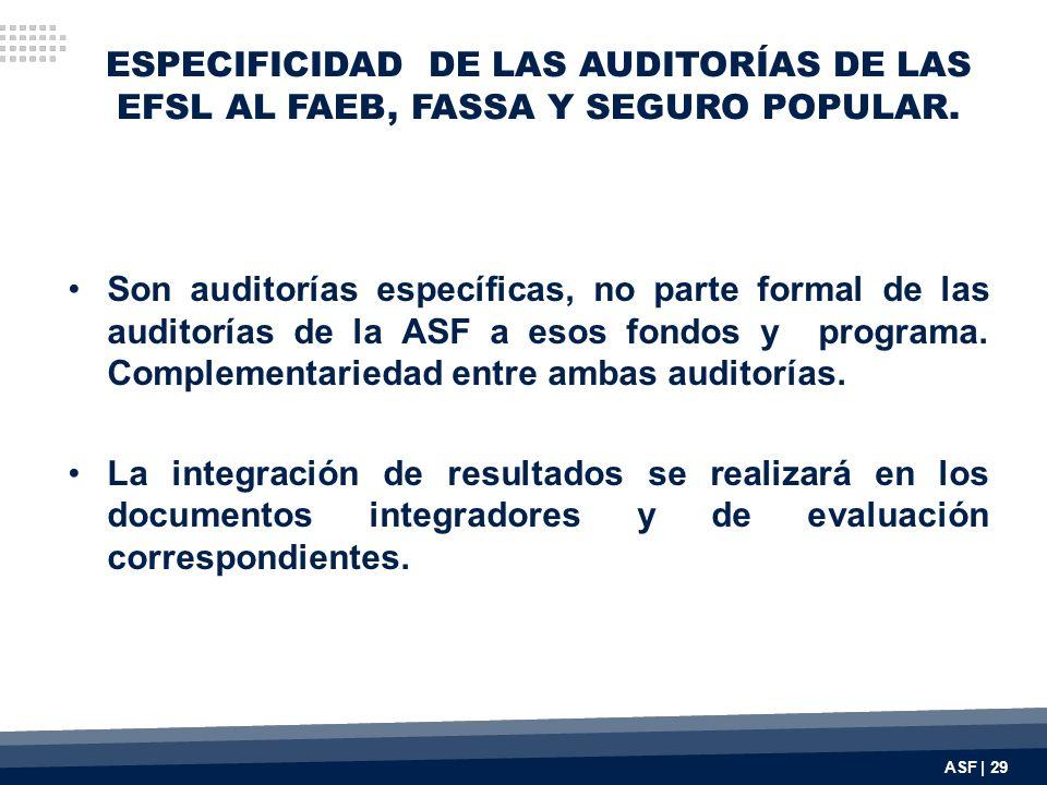 ESPECIFICIDAD DE LAS AUDITORÍAS DE LAS EFSL AL FAEB, FASSA Y SEGURO POPULAR. Son auditorías específicas, no parte formal de las auditorías de la ASF a