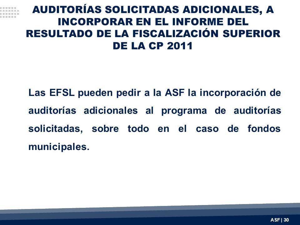 AUDITORÍAS SOLICITADAS ADICIONALES, A INCORPORAR EN EL INFORME DEL RESULTADO DE LA FISCALIZACIÓN SUPERIOR DE LA CP 2011 Las EFSL pueden pedir a la ASF