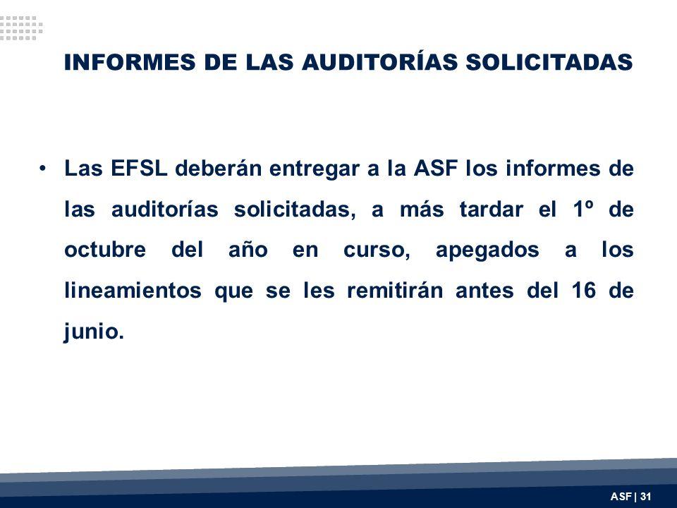 INFORMES DE LAS AUDITORÍAS SOLICITADAS Las EFSL deberán entregar a la ASF los informes de las auditorías solicitadas, a más tardar el 1º de octubre del año en curso, apegados a los lineamientos que se les remitirán antes del 16 de junio.
