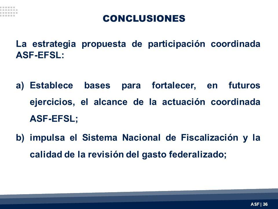 CONCLUSIONES La estrategia propuesta de participación coordinada ASF-EFSL: a)Establece bases para fortalecer, en futuros ejercicios, el alcance de la