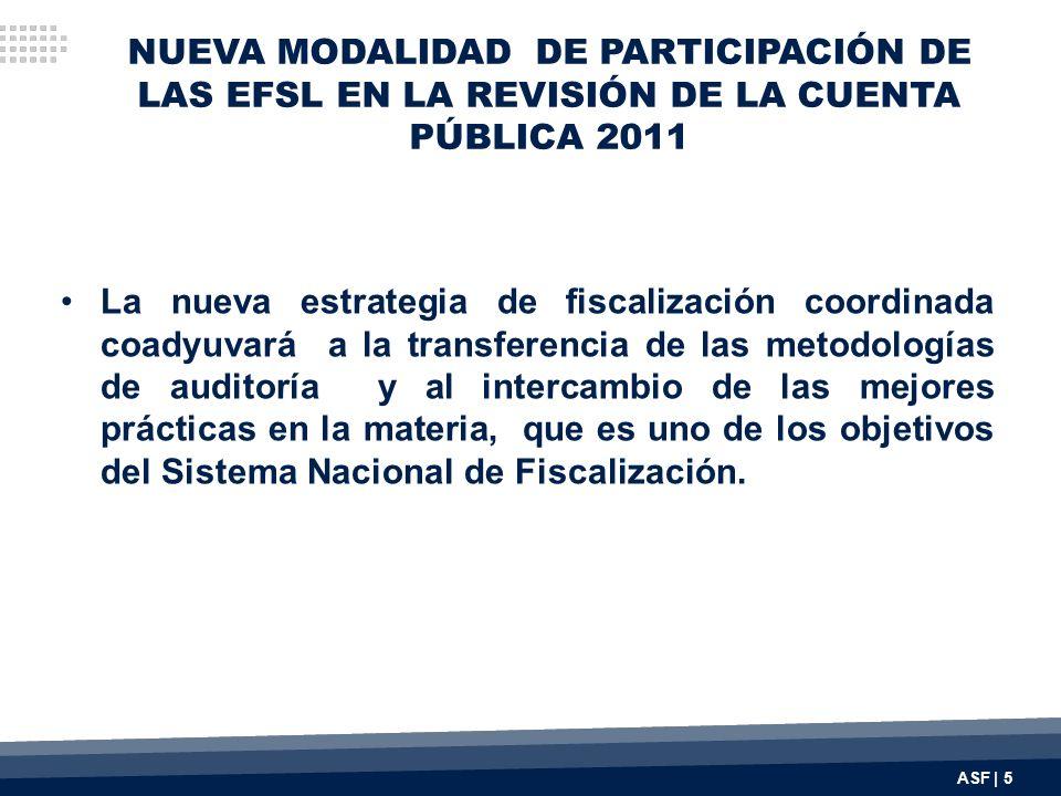 NUEVA MODALIDAD DE PARTICIPACIÓN DE LAS EFSL EN LA REVISIÓN DE LA CUENTA PÚBLICA 2011 La nueva estrategia de fiscalización coordinada coadyuvará a la