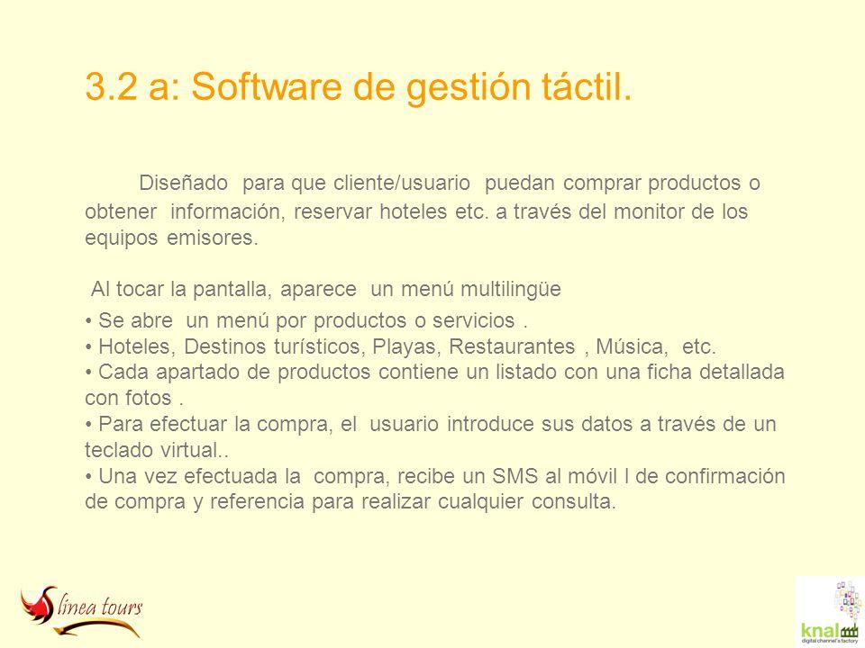 3.2 a: Software de gestión táctil. Diseñado para que cliente/usuario puedan comprar productos o obtener información, reservar hoteles etc. a través de
