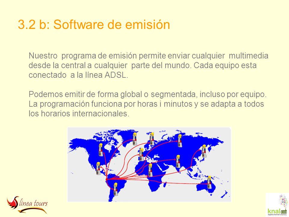 3.2 b: Software de emisión Nuestro programa de emisión permite enviar cualquier multimedia desde la central a cualquier parte del mundo. Cada equipo e
