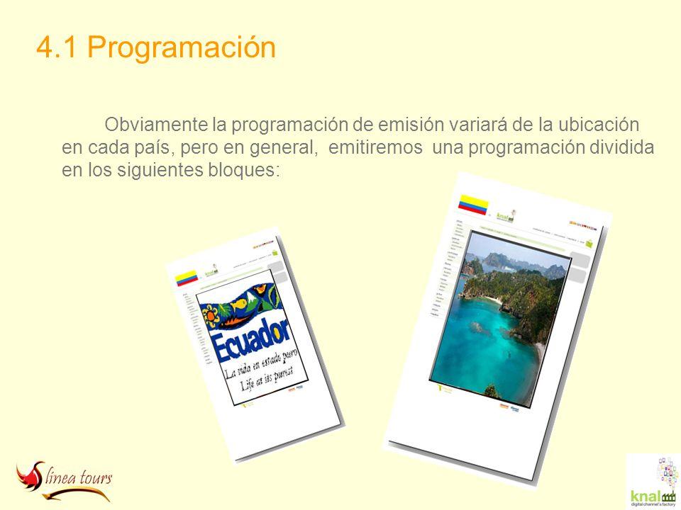 4.1 Programación Obviamente la programación de emisión variará de la ubicación en cada país, pero en general, emitiremos una programación dividida en