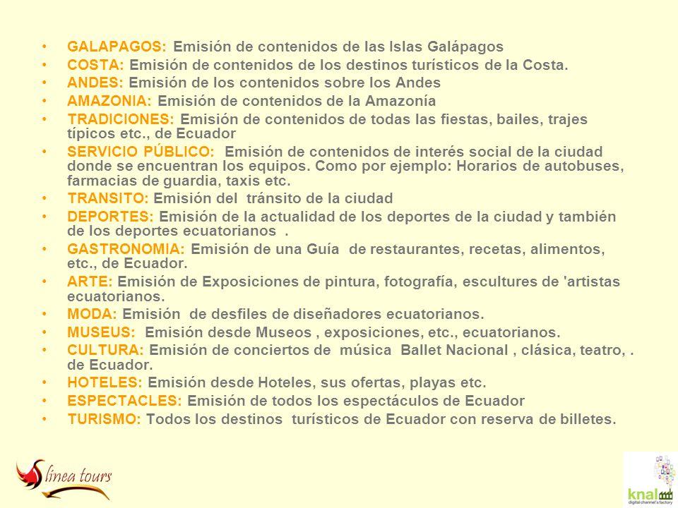 GALAPAGOS: Emisión de contenidos de las Islas Galápagos COSTA: Emisión de contenidos de los destinos turísticos de la Costa. ANDES: Emisión de los con